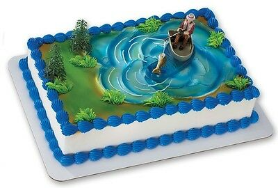 Fisherman Fishing Boat Pole Grooms Cake Decorations Birthday Party Topper Kit](Fisherman Cake)