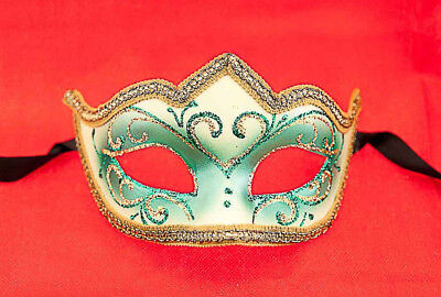 Mask from Venice Colombine a Tip Green for Fancy Dress 677