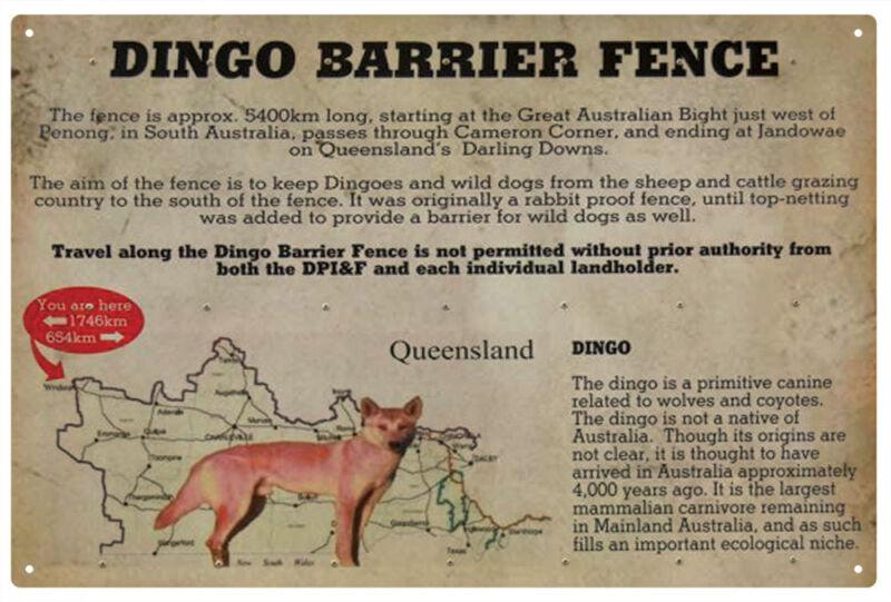 Dingo Barrier Fence Australian Rustic/Vintage Tin Sign (20 x 30 cm)