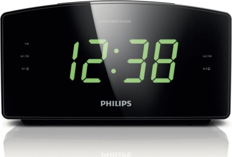 Philips LED Large Display Alarm Clock Digital Tuning Radio FM Wake Up Bedroom