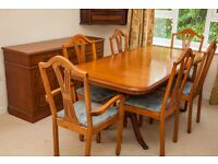 Dining Room Table with removable leaf, 6 Chairs, and Sideboard, Elm veneer finish