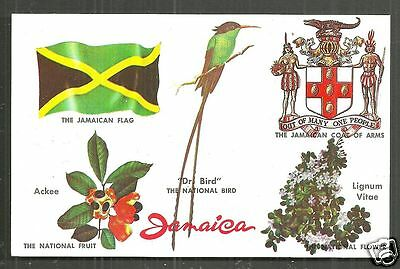 Jamaica Flag Coat of Arms national Bird Flower Fruit Caribbean 60s