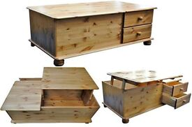 **LIMITED EDITION** Brand New Maxican Pine Wooden Coffee Table with Ottoman Storage and Drawers