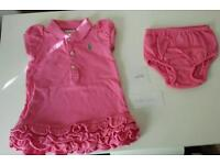 Ralph Lauren Cupcake pink Tiered Dress with matching panty