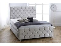 SAME DAY FREE DELIVERY ...NEW DOUBLE CRUSHED VELVET CHESTERFIELD BED WITH WIDE RANGE OF MATTRESS+