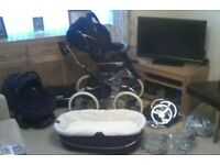 Babecar Stylo Pram consisting of chassis, carrycot, pushchair, car seat and base with accessories