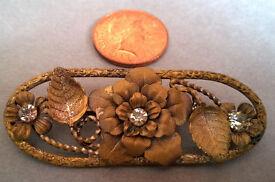 vintage brass flower brooch