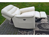 Ex-display Development Ivory Leather Electric Reclining Arm Chair.