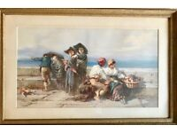 'Young Love, The Bay of Naples' - Bach Guido R. 1879 Original Signed Watercolor