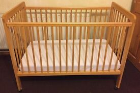 John Lewis Dropside Baby Cot Bed With very clean mattress.