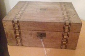 Vintage Antique Inlaid Writing Box Complete with Key