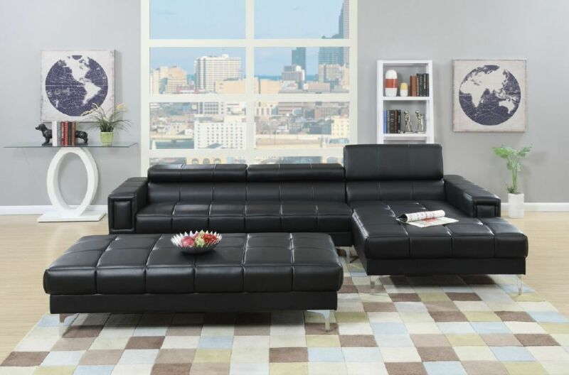 Modern Adjustable Headrest Black Bonded Leather Large Sectional Sofa & Chaise