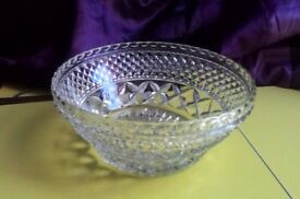 REDUCED Large Vintage Cut Glass Fruit Bowl VGC