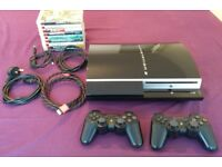 Playstation 3 bundle (ps3, 2x DS3 controllers, 9 games & cables)