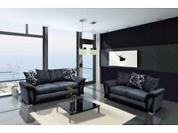 *COME AND VIEW IT ,TRY IT THEN BUY IT* BRAND NEW SHANNON 3+2 SOFA SUITE BLACK/GREY FAST DELIVERY
