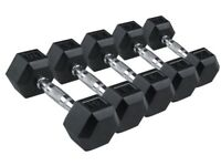 Hex Dumbbells From £18 Dumbbell Pair Rubber Dumbbells: 5kg 10kg 15kg NEW
