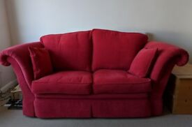 2 & 3 seater red sofas in excellent condition, very clean, pet and smoke free home