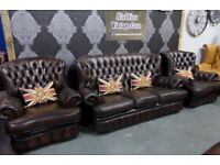 Fantastic Chesterfield 3 Seater Sofa & 2 Chairs in Brown Leather - UK Delivery