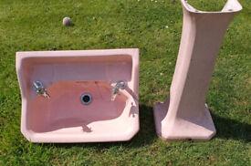 Vintage 1950s Pedestal Basin by H E Olby