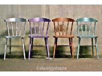 4 country, wooden kitchen dining chairs, in metallic colours : copper, silver, mint green, and lilac