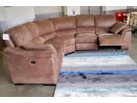 EX DISPLAY LARGE CORNER GROUP BROWN SUEDE PREMIUM QUALITY LARGE RECLINER SOFA- BEAUTIFUL SOFA