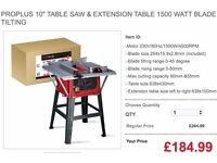 "PROPLUS 10"" TABLE SAW & EXTENSION TABLE 1500 WATT BLADE TILTING"