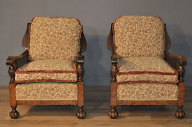 Attractive Pair Of 2 Vintage Bergere Caned Side Carved Walnut Fireside Armchairs
