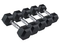 Hex Dumbbells From £18 Dumbbell Pair Rubber Dumbbells: 5kg 10kg 15kg: BRAND NEW