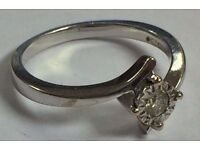 9K Gold Ring with Diamond. Wedding Ring, Engagement Ring