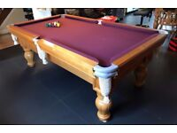 POOL TABLE,7Ft SOLID OAK BESPOKE ENGLISH LUXURY WITH SLATE BED. GOOD CONDITION