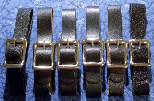 6 New Black 1/2 in. Leather Pocket Watch Fob Straps