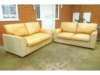 Two Cream Leather Sofas Both For £60 - Free Delivery In Southampton