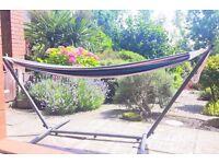 Garden Hammock unused, beach stripe effect, free standing, black steel frame