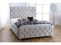 Diamond crushed velvet bed with mattress and headboard
