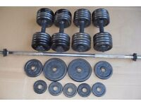 Pro Power cast iron weights 60kg + bar + dumbbell handles crossfit