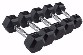 Hex Dumbbells From £18 Dumbbell Pair Rubber Dumbbells: 5kg 10kg 15kg: NEW