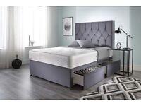 Ziggy Grey Plush Memory Foam Divan Bed Set With Mattress Double 135cm X 190cm