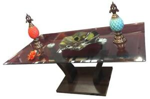 Black top coffee table with steel legs on sale (SM2000)