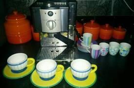 Espresso machine cups and saucers