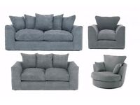DYLAN JUMBO CORD GREY 3+2 SEATER OR LH/RH CORNER SOFA | 1 YEAR WARRANTY | EXPRESS DELIVERY ALL UK
