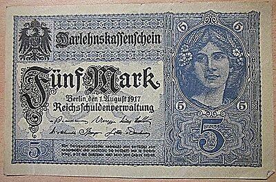 Darlehnskassenschein vom 1.AUGUST 1917 Reischschuldenverwaltung Fünf Mark