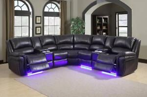 LED leather sectional sofa set| Furniture sale (GL721)