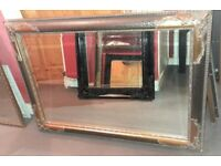 Fabulous Large Ornate Vintage Style Black and Gold Bevelled Edge Gothic Mirror