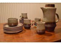 19 Piece Set Vintage Authentic Brown & Grey Coffee Set