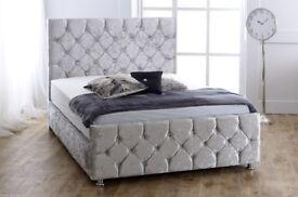 BRAND NEW CHESTERFIELD STYLE UPHOLSTERED DESIGNER DOUBLE BED FRAME CRUSHED VELVET