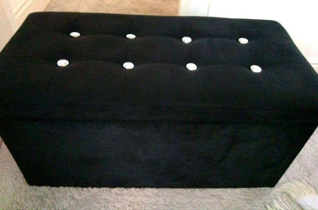Astonishing Velvet Storage Seat Box Ottoman Stool Diamante In Old Trafford Manchester Gumtree Ncnpc Chair Design For Home Ncnpcorg