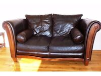2 seater, wood and brown leather sofa - can deliver