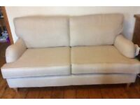 Cream 3seater sofa and chair with check footstool and 4 cushions