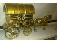 Solid brass horse and caravan
