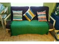 Futon sofa double bed purple